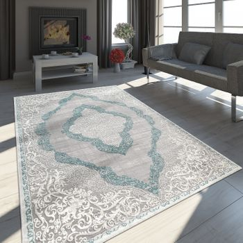 Tapis Oriental Ornements Turquoise