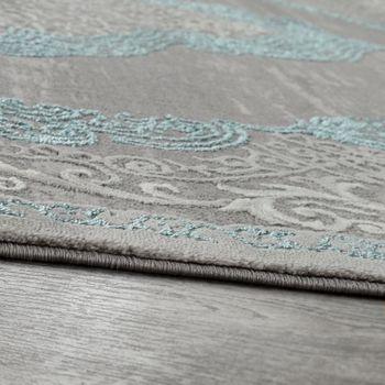 Orient Teppich Modern 3D Effekt Meliert Schimmernd Ornamente In Grau Türkis – Bild 2