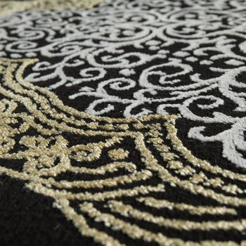 Oriental Rug Modern 3D Effect Mottled Shimmering Ornaments In Black Gold – Bild 3