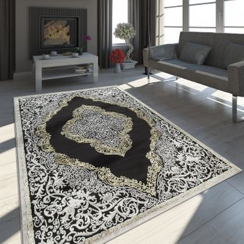 Oriental Rug Modern 3D Effect Mottled Shimmering Ornaments In Black Gold – Bild 1