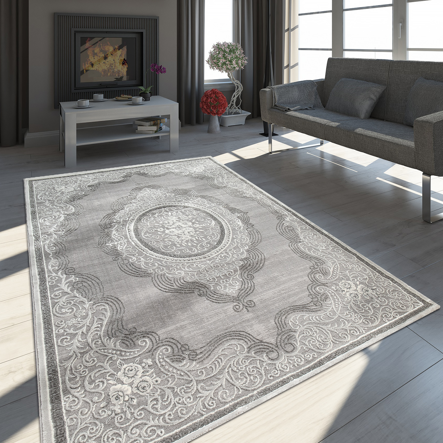 tapis oriental moderne effet 3d chin scintillant ornements bordures gris blanc tapis optique. Black Bedroom Furniture Sets. Home Design Ideas