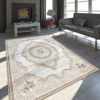 Orient Teppich Modern 3D Effekt Meliert Schimmernd Ornamente Bordüre Grau Beige – Bild 1