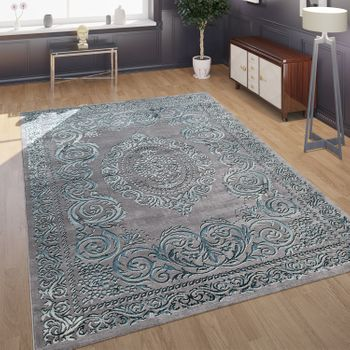 Designer Living Room Rug 3D Effect Oriental Pattern In Grey Turquoise – Bild 1