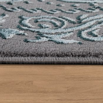 Designer Living Room Rug 3D Effect Oriental Pattern In Grey Turquoise – Bild 2
