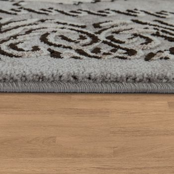 Designer Living Room Rug 3D Effect Oriental Pattern In Grey Beige – Bild 2