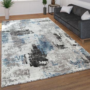 Moderner Kurzflor Wohnzimmer Teppich 3D Optik Abstraktes Muster In Grau Blau – Bild 1