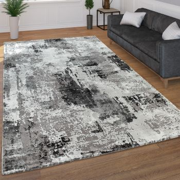 Short Pile Rug Abstract Pattern Grey