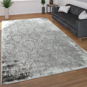 Short Pile Rug Orient Pattern Grey