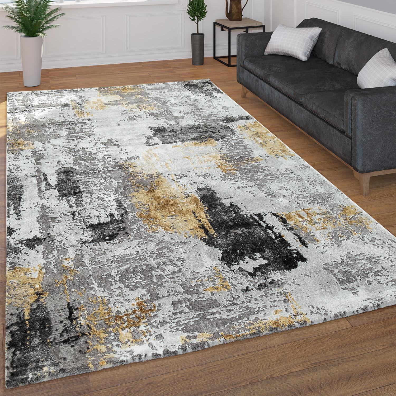 tapis poils ras motif abstrait jaune tapis24. Black Bedroom Furniture Sets. Home Design Ideas