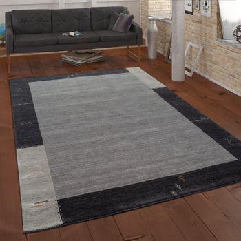 Rug Hand-Woven Gabbeh Quality 100% Wool Border Mottled In Grey – Bild 1