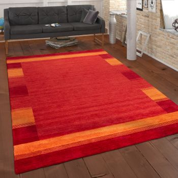 Hand-Woven Rug Gabbeh Orange Yellow