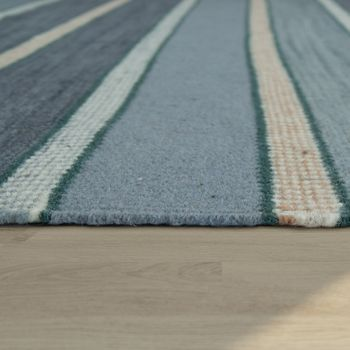 Hand-Woven Kilim Rug Striped Design High Quality With Fringes In Turquoise – Bild 2