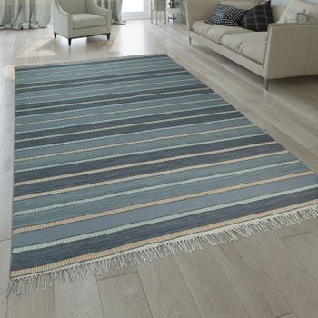 Hand-Woven Kilim Rug Striped Design Turquoise