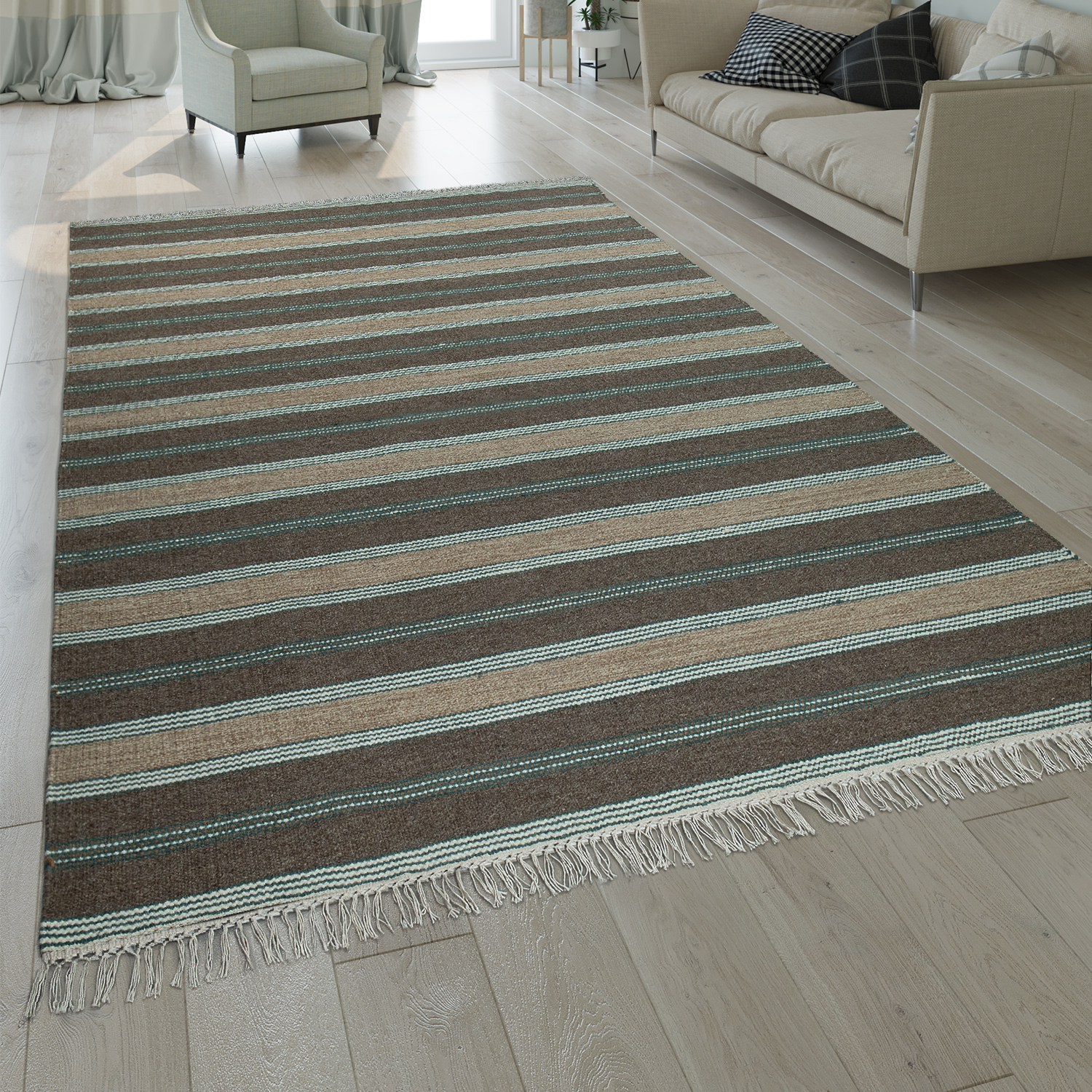Hand-Woven Kilim Rug Striped Design High Quality With Fringes In Beige