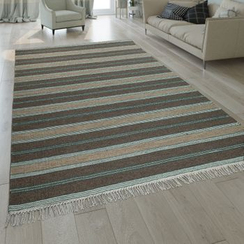 Hand-Woven Kilim Rug Striped Design Beige