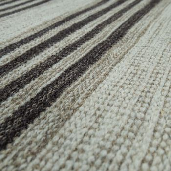 Hand-Woven Kilim Rug Striped Design High Quality With Fringes In Grey – Bild 3