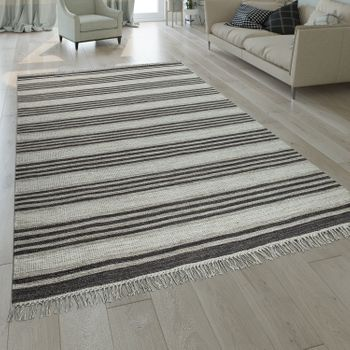 Hand-Woven Kilim Rug Striped Design Grey