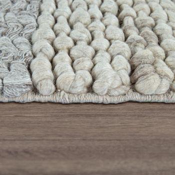 Hand-Woven Natural Rug From Wool Striped Pattern In Beige Cream Brown – Bild 2