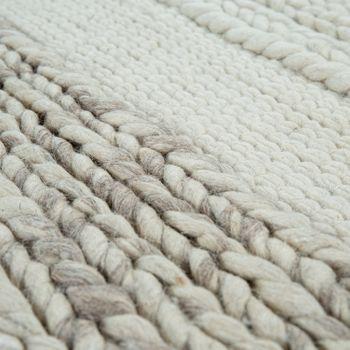 Hand-Woven Natural Rug From Wool Striped Pattern In Beige Cream Brown – Bild 3