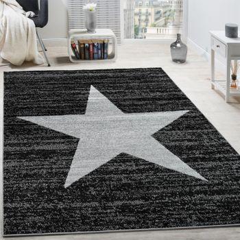 Designer Teppich Stern Muster Anthrazit