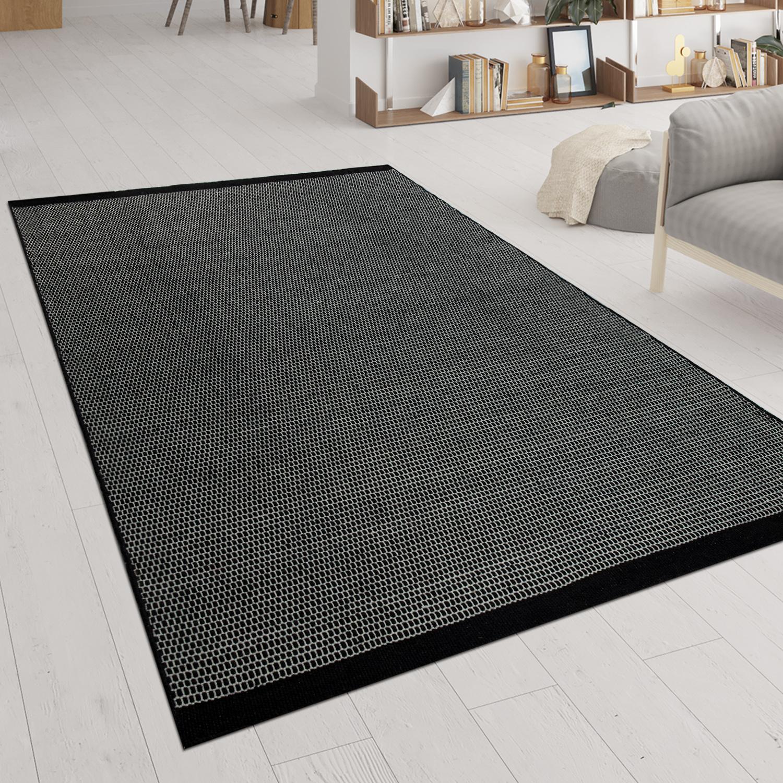 Hand Woven Flat Weave Rug Scandinavian Look Black Rug24