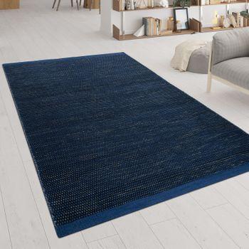Handgewebter Flachgewebe Teppich Skandi Look Blau