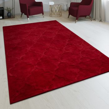 Handmade Living Room Rug Moroccan Design Oriental One-Colour Red – Bild 1