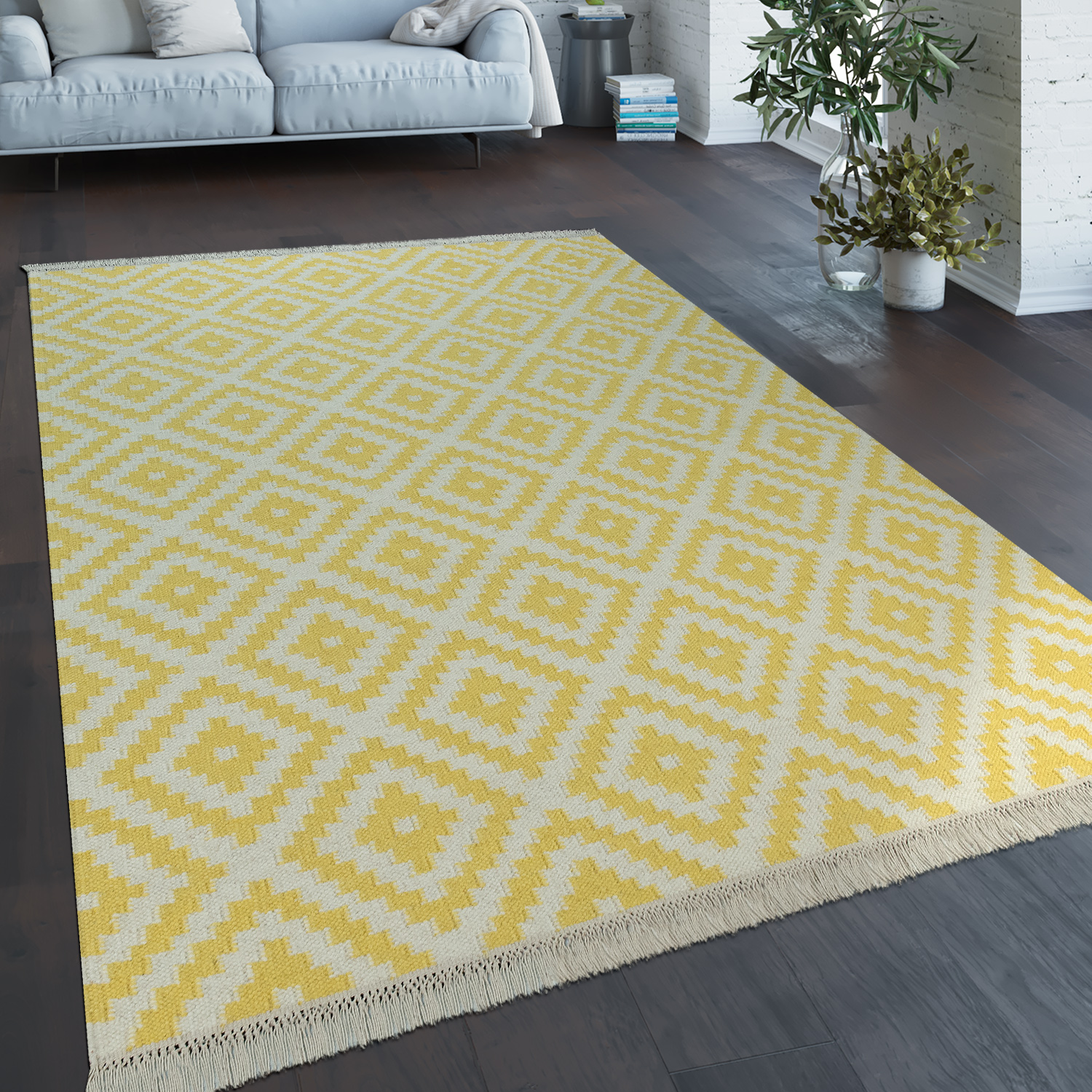 Hand-Woven Trend Rug Modern Moroccan Design Fringes In White Yellow