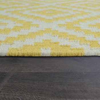 Hand-Woven Trend Rug Modern Moroccan Design Fringes In White Yellow – Bild 2