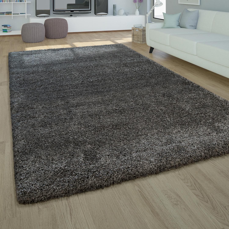 moderner hochflor teppich einfarbig grau. Black Bedroom Furniture Sets. Home Design Ideas