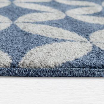 Rug Living Room Short Pile Circles Batik in Blue Grey Modern Retro Look – Bild 2