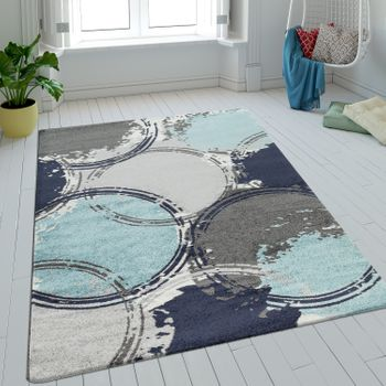 Rug Retro Batik Blue Grey Turquoise Short Pile