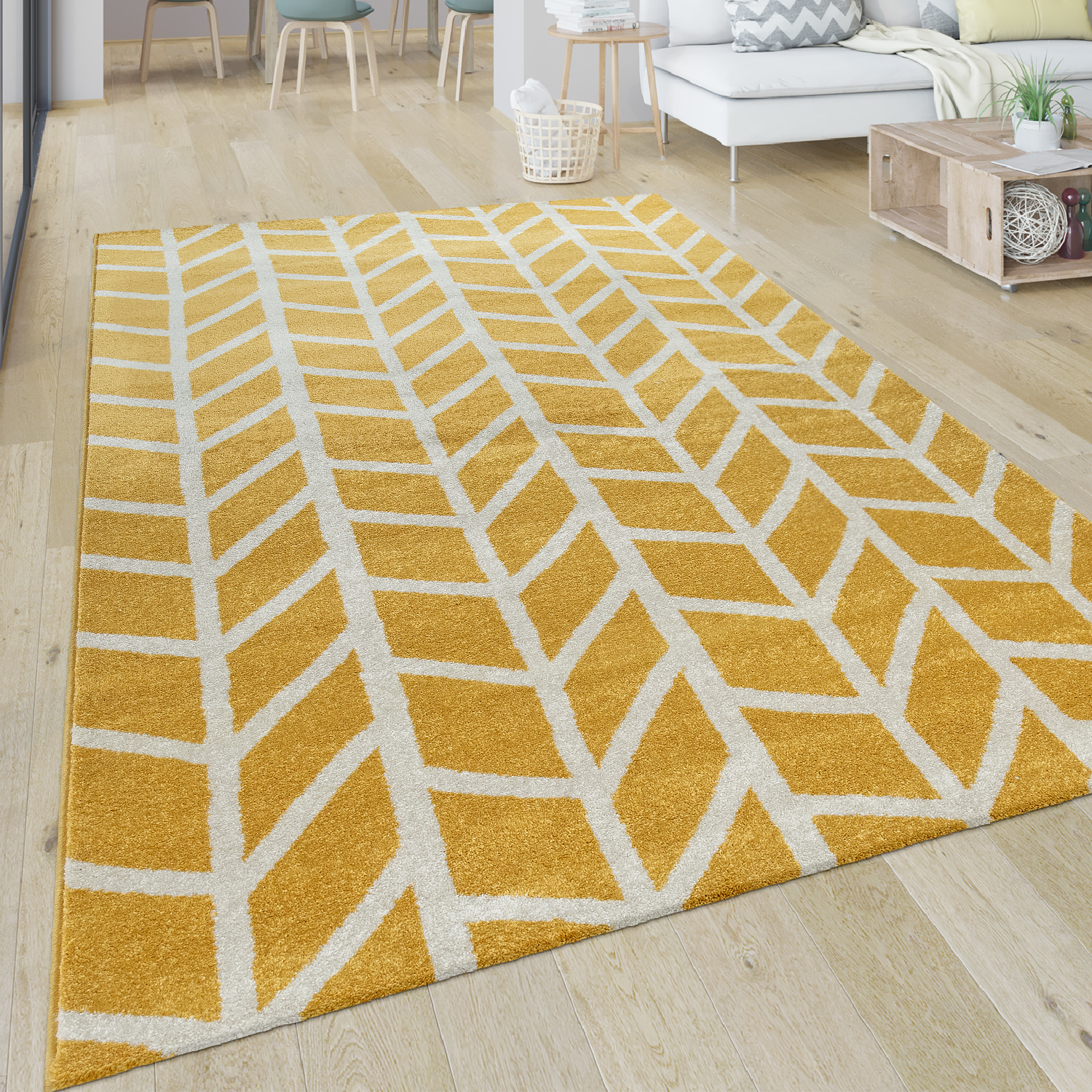 Short Pile Rug Stripes Yellow White
