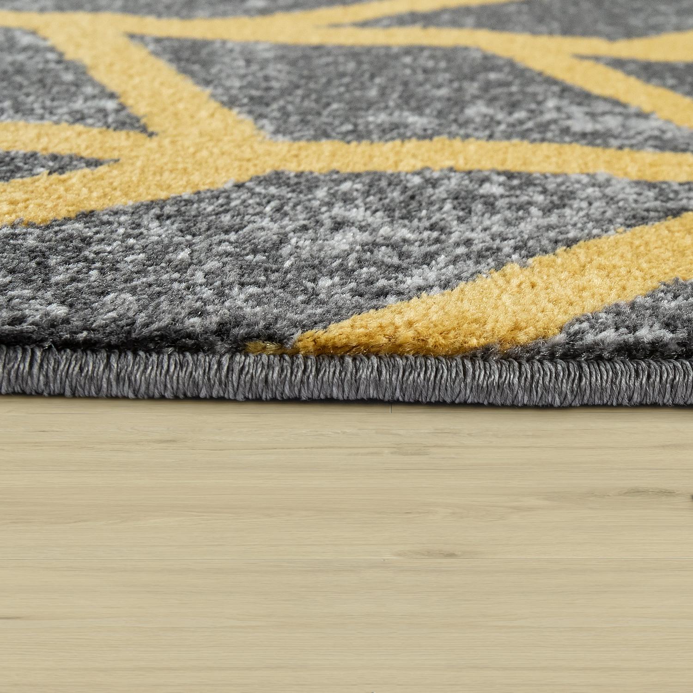 teppich kurzflor streifen grau gelb. Black Bedroom Furniture Sets. Home Design Ideas