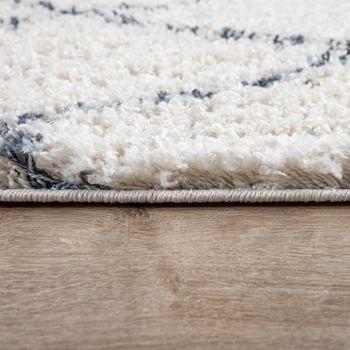 Shaggy woonkamer vloerkleed geruit crème blauw – Bild 2