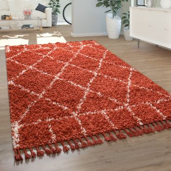 High Pile Living Room Rug Rhombuses Terracotta White