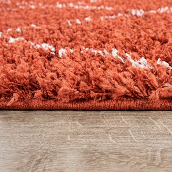 Living Room Rug Shaggy High Pile Modern Rhombus Pattern Diamonds in Terracotta White – Bild 2