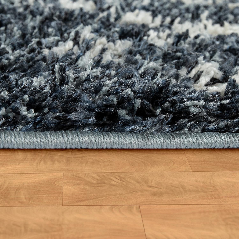 Teppich Wohnzimmer Shaggy Rauten Blau Weiss Hochflor Teppiche