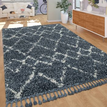 Shaggy Rug Living Room High Pile Modern Diamond Pattern Rhombuses in Blue White – Bild 1