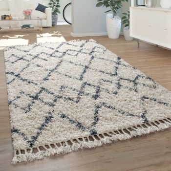 Shaggy Rug Living Room High Pile Modern Diamond Pattern Rhombuses in Cream Blue – Bild 1