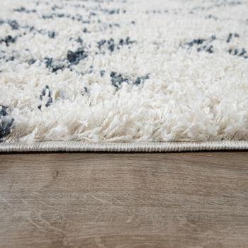 Vloerkleed woonkamer Shaggy ruiten crème blauw – Bild 2