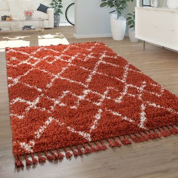 Shaggy Rug Living Room High Pile Modern Diamond Pattern Rhombuses in Terracotta White – Bild 1