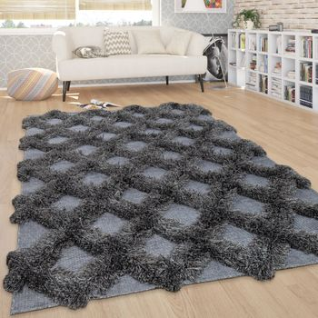 Rug Living Room Shaggy High Pile Rhombuses Diamonds Scandinavian in Monochromatic Anthracite – Bild 1
