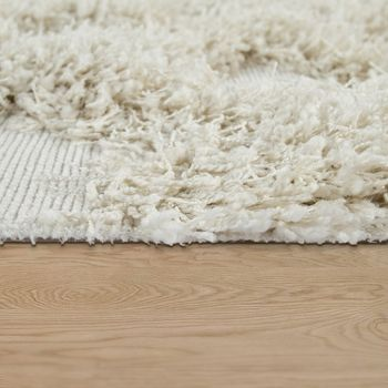 Rug Living Room Shaggy High Pile Rhombuses Diamonds Scandinavian in Monochromatic Cream – Bild 2