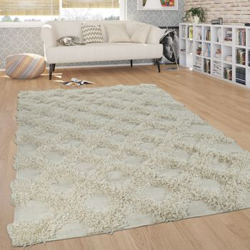 Rug Living Room Shaggy High Pile Rhombuses Diamonds Scandinavian in Monochromatic Cream – Bild 1