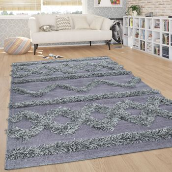 Rug Living Room Shaggy High Pile Zigzags Pattern Scandinavian in Monochromatic Grey – Bild 1