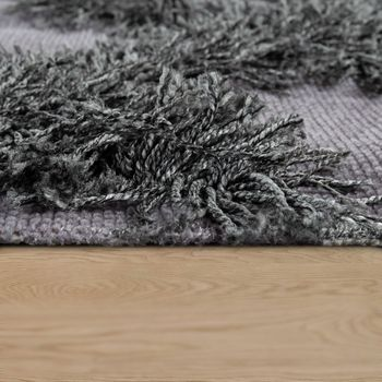 Rug Living Room Shaggy High Pile Zigzags Pattern Scandinavian in Anthracite – Bild 2