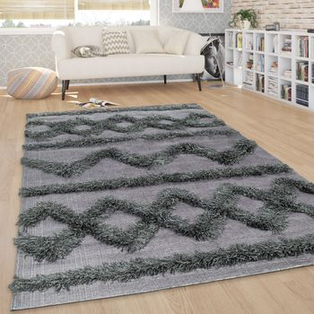 Rug Living Room Shaggy High Pile Zigzags Pattern Scandinavian in Anthracite – Bild 1