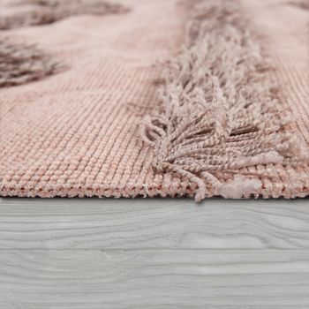 Teppich Wohnzimmer Shaggy Hochflor Zickzack Muster Skandinavisch In Uni Rosa – Bild 2