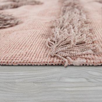 Tapis Salon Shaggy Poils Longs Zigzag Motif Scandinave Uni Rose – Bild 2